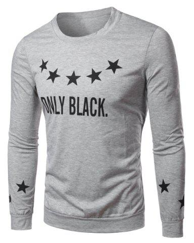 Hot Round Collar Star Letter Printed Long Sleeves T-Shirt For Men - XL GRAY Mobile