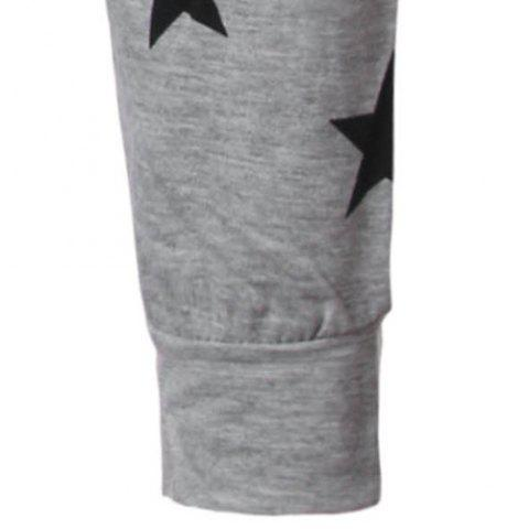 New Round Collar Star Letter Printed Long Sleeves T-Shirt For Men - XL GRAY Mobile