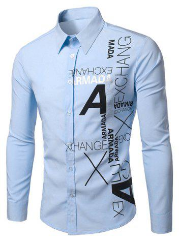 Latest Stylish Turn-Down Collar Letters Pattern Print Long Sleeve Men's Shirt LIGHT BLUE M