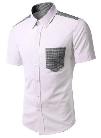 Hot Fashion Turn Down Collar Houndstooth Pocket Short Sleeves Shirt For Men