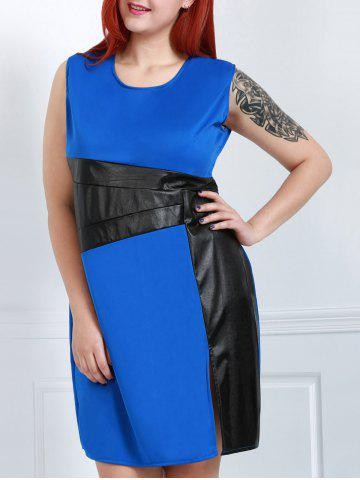 Outfit Stylish Scoop Neck Sleeveless Color Block Plus Size Women's Dress