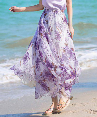 Store Stylish Elastic Waist Floral Print Chiffon Skirt For Women