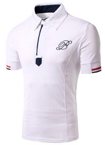 Fancy Solid Color Turn Down Collar Embroidery Design Short Sleeves T-Shirt For Men - L WHITE Mobile