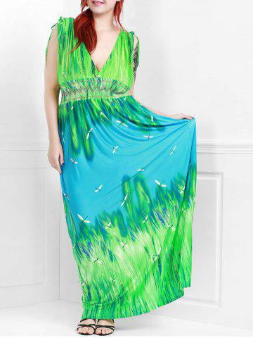 Store Sleeveless Plunging Neck Plus Size Hawaiian Maxi Dress