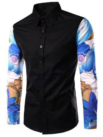Buy Fashion Turn Down Collar Splicing Printed Sleeves Shirt For Men - L BLACK Mobile