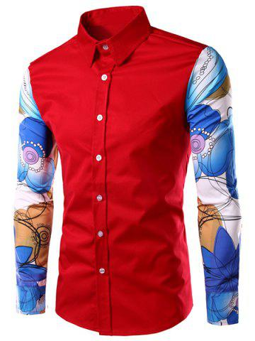 Sale Fashion Turn Down Collar Splicing Printed Sleeves Shirt For Men - XL RED Mobile
