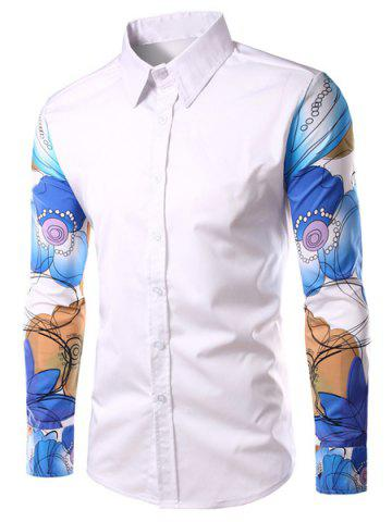 Online Fashion Turn Down Collar Splicing Printed Sleeves Shirt For Men
