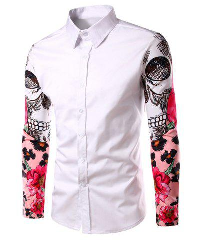 Latest Fashion Turn Down Collar Splicing Printing Sleeves Shirt For Men WHITE L