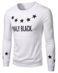 Round Collar Star Letter Printed Long Sleeves T-Shirt For Men