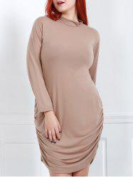 Turtle Neck Long Sleeve Plus Size Ruched Dress