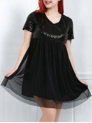 V-Neck Short Sleeve Sequins Plus Size Babydoll Dress