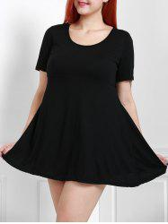 Plus Size Short Sleeve Casual Skater Dress -