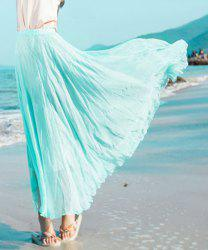Stylish Elastic Waist Solid Color Chiffon Skirt For Women - WATER BLUE XL