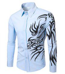 Fashion Turn Down Collar Dragon Printed Long Sleeves Shirt For Men - LIGHT BLUE