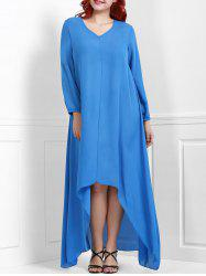 V-Neck Long Sleeve High Low Modest Maxi Dress
