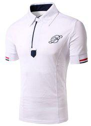Solid Color Turn Down Collar Embroidery Design Short Sleeves T-Shirt For Men -