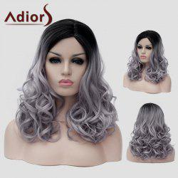 Adiors Long Shaggy Wavy Synthetic Black Gray Gradient Capless Universal Wig