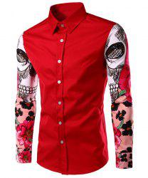 Fashion Turn Down Collar Splicing Printing Sleeves Shirt For Men - RED L