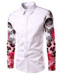 Fashion Turn Down Collar Splicing Printing Sleeves Shirt For Men - WHITE