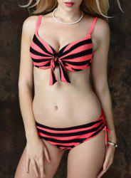Charming Hit Color Striped Bowknot and Hot Drilling Design Bikini For Women