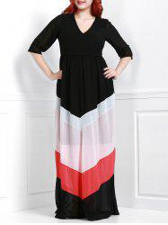 Chic V-Neck 3/4 Sleeve Zigzag Printed Loose Maxi Dress For Women -