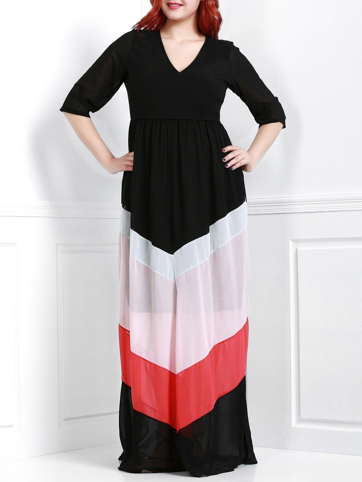 Outfits Chic V-Neck 3/4 Sleeve Zigzag Printed Loose Maxi Dress For Women