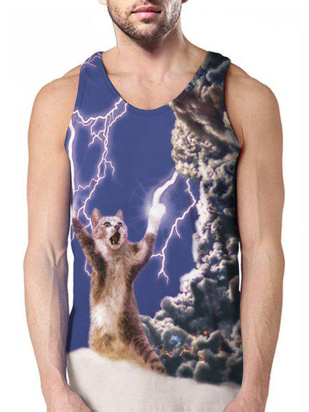 Discount Round Neck Lightning and Cat 3D Print Sleeveless Tank Top For Men