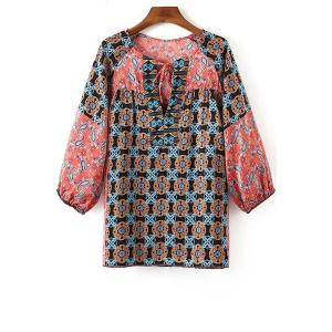 Stylish Round Neck Long Sleeve Geometric Pattern Women's Blouse