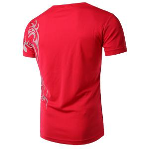Round Neck Chinese Style Printing Short Sleeve Men's T-Shirt -
