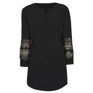 Trendy V-Neck 3/4 Sleeve Crochet Lace Blouse For Women