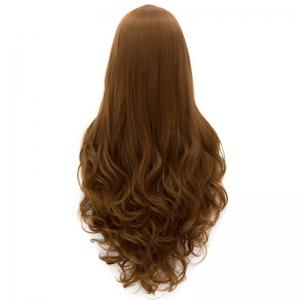 Elegant Extra Long Centre Parting Fluffy Wavy Brown Synthetic Women's Cosplay Wig -