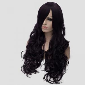 Gorgeous Long Side Bang Fluffy Wave Atropurpureus Synthetic Universal Women's Cosplay Wig -