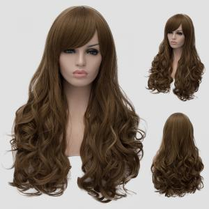 Elegant Side Bang Fluffy Wavy Long Flax Cyan Synthetic Universal Women's Cosplay Wig