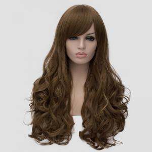 Elegant Side Bang Fluffy Wavy Long Flax Cyan Synthetic Universal Women's Cosplay Wig -