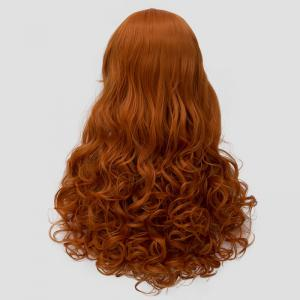 Stylish Inclined Bang Orange Fluffy Wavy Long Synthetic Universal Women's Cosplay Wig -