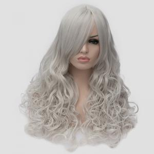 Attractive Long Side Bang Fluffy Wavy Silvery White Synthetic Universal Women's Cosplay Wig -