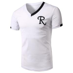 V-Neck Embroidery Letter Short Sleeve Athletic T-Shirt - White - 2xl