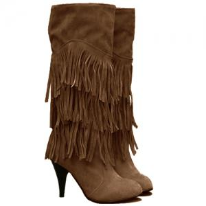 Stylish Multi-Layer Fringe and Solid Color Design Women's Mid-Calf Boots - Khaki - 39