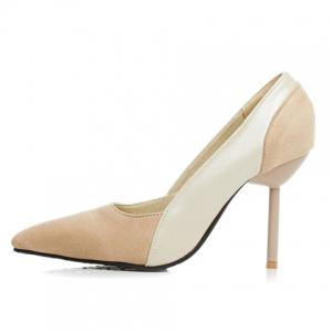 Simple Splicing and Pointed Toe Design Pumps For Women - OFF-WHITE 39