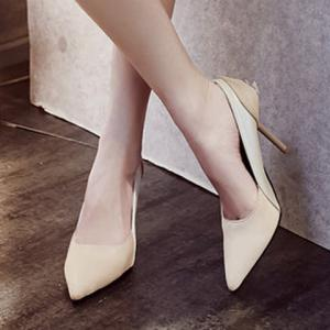 Simple Splicing and Pointed Toe Design Pumps For Women - OFF WHITE 39