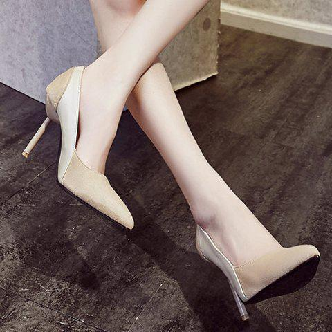 Chic Simple Splicing and Pointed Toe Design Pumps For Women - 39 OFF-WHITE Mobile