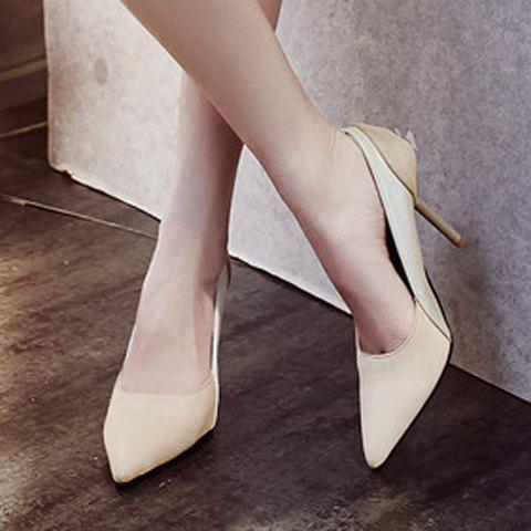 Latest Simple Splicing and Pointed Toe Design Pumps For Women - 39 OFF-WHITE Mobile