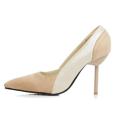 Fashion Simple Splicing and Pointed Toe Design Pumps For Women - 39 OFF-WHITE Mobile