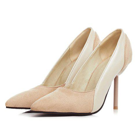 Shop Simple Splicing and Pointed Toe Design Pumps For Women - 39 OFF-WHITE Mobile