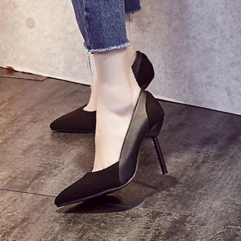 Sale Simple Splicing and Pointed Toe Design Pumps For Women - 39 BLACK Mobile