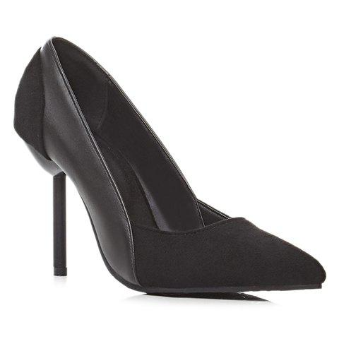 Cheap Simple Splicing and Pointed Toe Design Pumps For Women - 39 BLACK Mobile