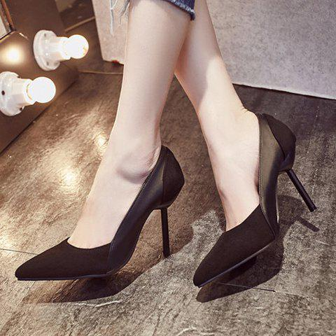 New Simple Splicing and Pointed Toe Design Pumps For Women - 39 BLACK Mobile