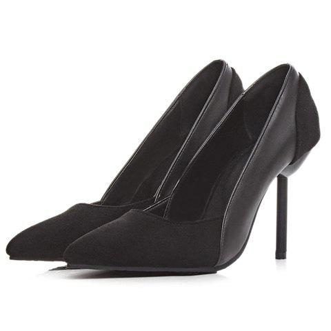 Store Simple Splicing and Pointed Toe Design Pumps For Women - 39 BLACK Mobile