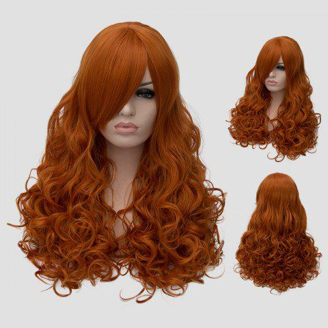 Outfits Stylish Inclined Bang Orange Fluffy Wavy Long Synthetic Universal Women's Cosplay Wig