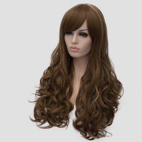 Unique Elegant Side Bang Fluffy Wavy Long Flax Cyan Synthetic Universal Women's Cosplay Wig - FLAX  Mobile